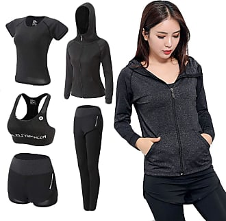 Inlefen Womens Tracksuit Yoga Sport Clothing Suits Hooded Coat Sweatshirt Two Pants Running Athletic 5pcs Sets(Deep Gray/3XL)