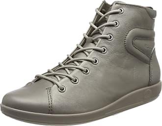 Ecco Womens Soft 2.0 Hi-Top Trainers, Grey (Stone Metallic 51147), 7.5 UK