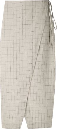 Osklen Sand Grid linen skirt - Grey