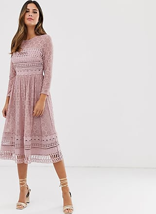 Bright Deer Women 3//4 Sleeve 2 in 1 Lace Dress Midi Pleated Chiffon Skater Ladies Dresses for Special Occasions Dinner Celebrity Formal 8 S Lilac