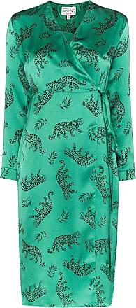 HVN Vestido envelope de seda com animal print - Verde