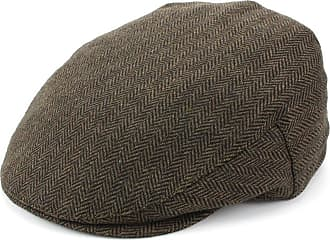 Hawkins Herringbone Flat Cap with Quilted Lining - Brown (58cm)