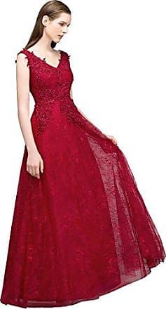 65d2e6ecd32663 MisShow Damen elegant A-Linie Kleid Abendkleid Ballkleider Applique  Cocktailkleid Festliches Kleid Burgundy Gr.