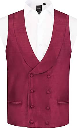 Dobell Mens Burgundy Waistcoat Regular Fit Double Breasted Shawl Lapel Dupion-2XL (50-52in)