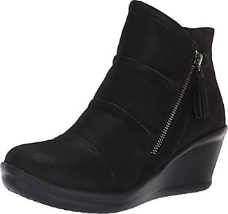 Skechers Womens Rumblers-Ruched Vamp Bootie with Tassel Ankle Boot, Black, 11 M US