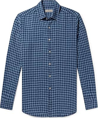 Canali Checked Linen Shirt - Blue