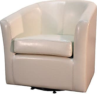 New Pacific Direct Hayden Swivel Bonded Leather Tub Chair,Beige
