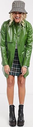 Topshop croc shacket in green