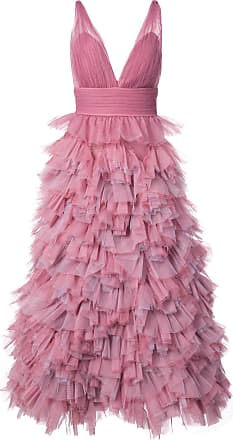 Marchesa ruffled A-line gown - Pink