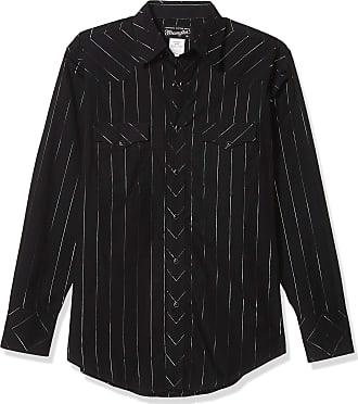 Wrangler Mens Western Silver Edition Two Pocket Long Sleeve Snap Shirt - Black - Large