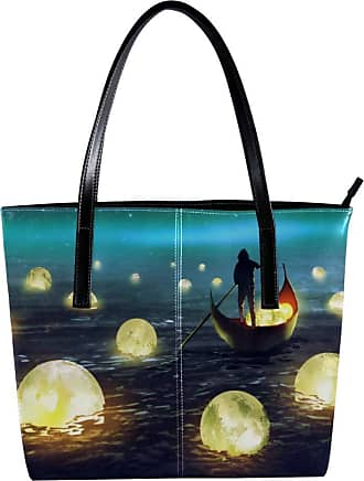 Nananma Womens Bag Shoulder Tote handbag with A Man Rowing A Boat Among Glowing Moons Floating On The Sea Print Zipper Purse PU Leather Top-handle Zip Bags