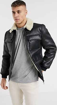 River Island Pilotenjacke in Lammfell-Optik in Schwarz