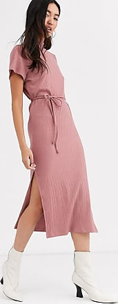 Topshop knitted dress with belt in blush-Pink