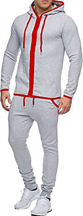 Mens Hooded Tracksuit Pique Contrast Casual Top and Bottoms Hoodie Pants Set New