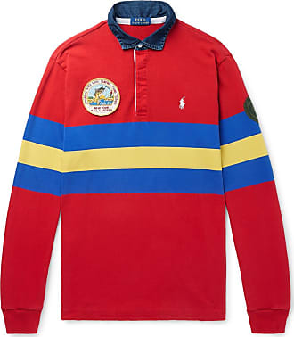 Polo Ralph Lauren Logo-embroidered Appliquéd Striped Jersey Polo Shirt - Red