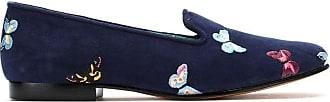 Blue Bird Shoes Loafer Borboletas de camurça - Azul