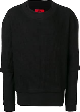 424 crew neck layered sweatshirt - Preto