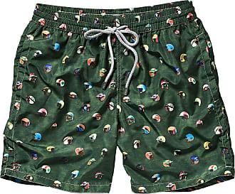 Elemar Herren Shorts Badeshorts Freizeit Bermuda grün weiss blau gestreift M 5