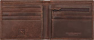 DuDu Portafoglio uomo vintage in vera pelle vissuta portamonete e carte con zip DUDU Marrone scuro