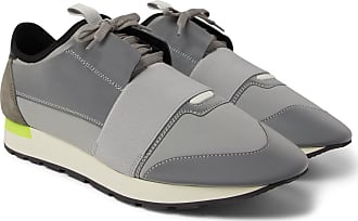 6a0d0ccf0a7 Balenciaga Race Runner Neoprene, Leather And Suede Sneakers - Light gray