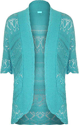 ZEE FASHION Women Ladies Knitted Bolero Crochet Shrug Open Cardigan Plus Size UK 8-30 Turquoise