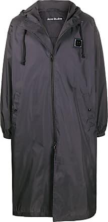 Acne Studios logo-plaque long raincoat - Black