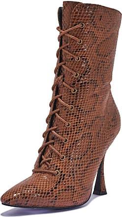 Truffle Womens Heel Booties High Heel Boots Black Vegan Suede Leather Ankle Boot - Brown - UK 3