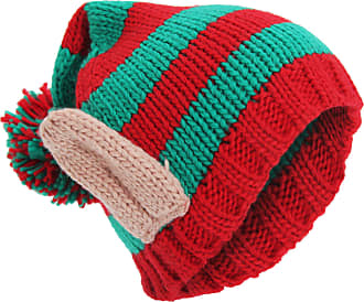 Universal Textiles Adults Unisex Knitted Christmas Design Winter Bobble Hat With 3D Ears (One Size) (Red/Green)