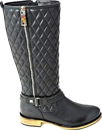 Womens Quilted Back Elastic Riding Boots Buckle Tan Size UK 3-8