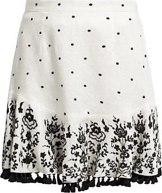 Zimmermann Tali Embroidered Linen Skirt - Womens - Ivory