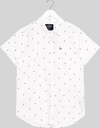 Hollister cacti print short sleeve slim fit shirt in white