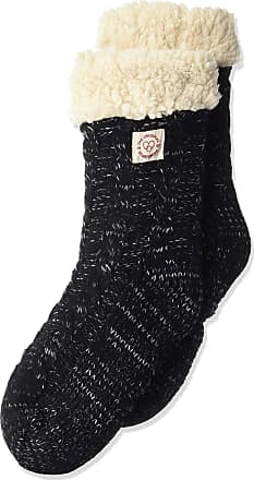 Dearfoams womens Space-dye Cable Knit Blizzard Slipper Sock Black Size: One Size Standard US Width US