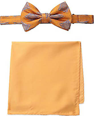 Steve Harvey Mens Medallion Bowtie and Solid Pocket Square, Peach, One Size