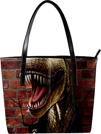 Nananma Womens Bag Shoulder Tote handbag with Dinosaur Through The Brick Wall Print Zipper Purse PU Leather Top-handle Zip Bags