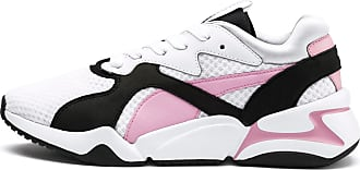 Puma Nova 90S Bloc Womens Trainers, White/Pale Pink, size 3, Shoes