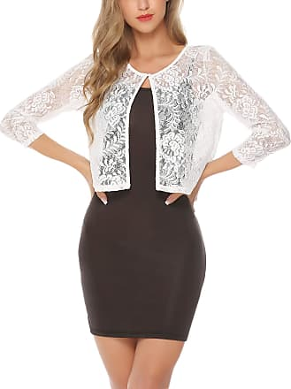 Abollria Shrugs for Women Lace Short Sleeve Evening Wedding Cover Up Bolero Cardigan White