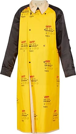 Off-white Logo-print Contrast-panel Trench Coat - Mens - Yellow Multi
