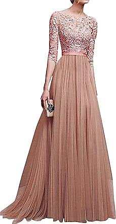 Minetom Womens Maxi Dress 3/4 Sleeve Formal Evening Lace Long Dress Ball Gown Princess Bride Wedding Dresses Elegant Sexy Pink UK 12