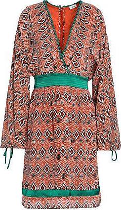 fe5cd1b4d8 Talitha Talitha Woman Wrap-effect Printed Silk Crepe De Chine Dress Orange  Size XS