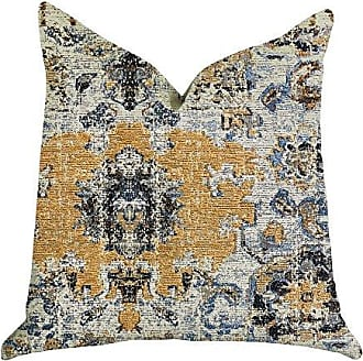 Plutus Brands Free Spirit Damasque Double Sided King Luxury Throw Pillow 20 x 36 Blue/Beige/Gold