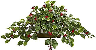 Nearly Natural 8543 37 Variegated Holly Leaf Artificial Planter (Real Touch) Silk Plants Green
