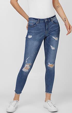 Only Calça Jeans Only Skinny Cropped Carmen Destroyed Azul