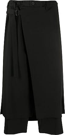 Yohji Yamamoto wrap-panel cropped trousers - Black