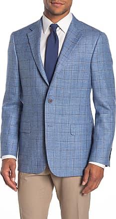 Hickey Freeman Milburn II Medium Blue Windowpane Two Button Notch Lapel Classic Fit Blazer