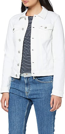 Tommy Jeans Womens Slim Trucker Jacket CNW, White (Candle White Str 1Cd), 14 (Size:XL)