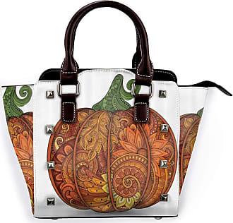 Browncin Vegetable Thanksgiving Day Symbol National Pumpkin Flower Paisley Mandala Form Detachable Fashion Trend Ladies Handbag Shoulder Bag Messenger Bags