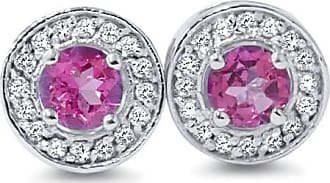 Pompeii3 70CT Halo Real Diamond Genuine Round Pink Sapphire Studs 14K White Gold