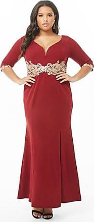 Forever 21 Plus Forever 21 Plus Size Soieblu Embroidered Gown Burgundy
