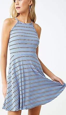 Forever 21 Forever 21 Striped Fit & Flare Dress Blue/cream