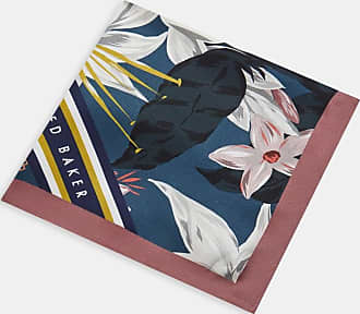 Ted Baker Floral Geo Print Silk Pocket Square in Blue AFTON, Mens Accessories